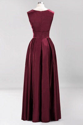 Charming Sleeveless V-Neck Prom Dress | Long Burgundy Evening Gowns With Ribbon And Zipper_4