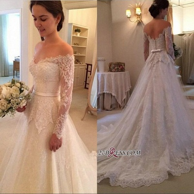 Lace Off-The-Shoulder Long-Sleeves Court-Train New-Arrival Wedding Dress_1