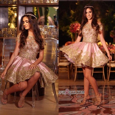 Gold Lovely Appliques Short Lace Pink Off-The-Shoulder Homecoming Dress BA6543_2