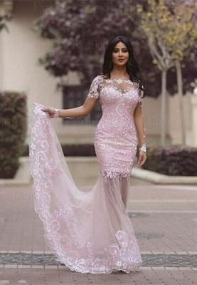 Gorgeous Long Sleeve Lace Appliques 2020 Evening Dress Mermaid Sheer Skirt Prom Gown_5