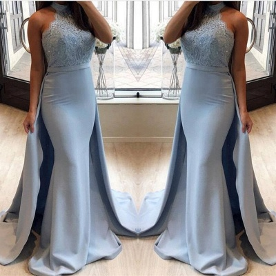 Lace 2020 Prom Dress With Ruffles | Mermaid Halter Long Evening Gowns_3