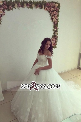 Newest Lace-up White Lace Appliques Ball-Gown Off-the-shoulder Wedding Dress_1