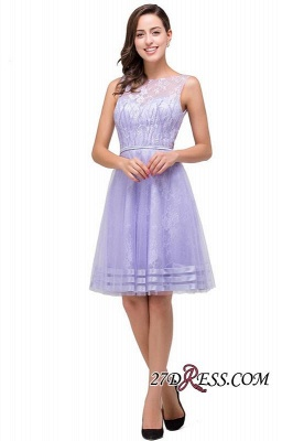2020 Sleeveless Lavender Lace Short A-Line Mini Homecoming Dress_3