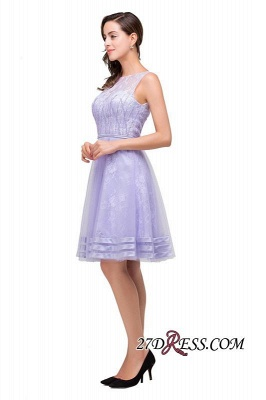 2020 Sleeveless Lavender Lace Short A-Line Mini Homecoming Dress_4