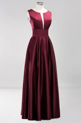 Charming Sleeveless V-Neck Prom Dress | Long Burgundy Evening Gowns With Ribbon And Zipper_3