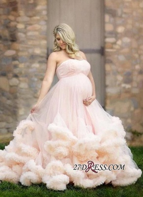 2020 Pink Maternity Long Cloud Strapless Pregnant Wedding Dresses_2