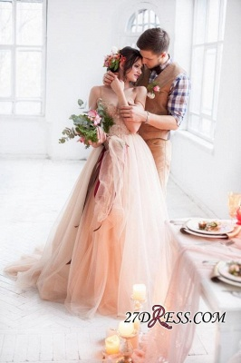 Tulle Sweetheart Lace Fairy Appliques Spaghetti-Strap Long Wedding Dress_2
