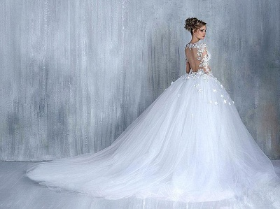 Elegant Long Sleeve White 2020 Wedding Dress tulle Ball Gown Appliques_5