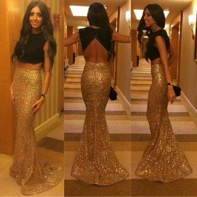 Gorgeous Mermaid Separate Evening Dresses Jewel Sweep Train Sequined Prom Gowns_2