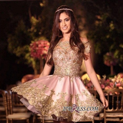 Gold Lovely Appliques Short Lace Pink Off-The-Shoulder Homecoming Dress BA6543_3