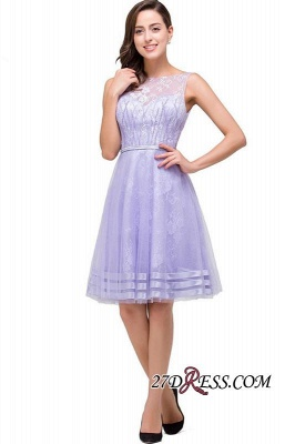 2020 Sleeveless Lavender Lace Short A-Line Mini Homecoming Dress_5