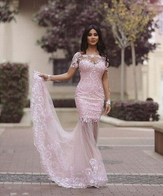 Gorgeous Long Sleeve Lace Appliques 2020 Evening Dress Mermaid Sheer Skirt Prom Gown_4