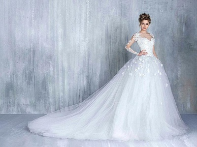 Elegant Long Sleeve White 2020 Wedding Dress tulle Ball Gown Appliques_4