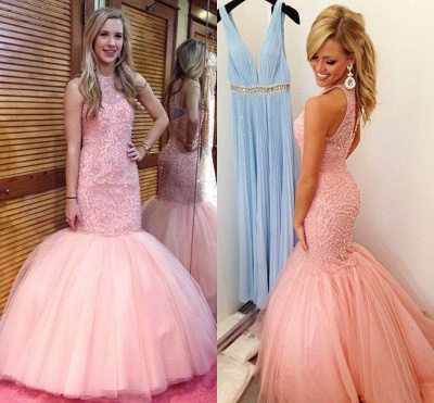 Fabulous Sleeveless Pink Prom Dress 2020 Mermaid Tulle Floor Length BK0_3