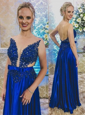Newest Royal Blue Lace Appliques Prom Dress | Backless Prom Dress_1