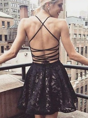 Modest Black Spaghetti Strap Homecoming Dress   Backless Short Party Gown_2