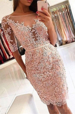 Elegant Half-Sleeve 2020 Homecoming Dress | Short Party Dress With Lace Appliques_1