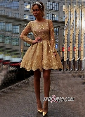 Sheer Gold Gorgeous Long-Sleeves Appliques Short Homecoming Dresses_3