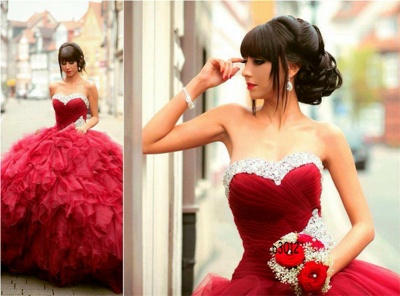 Glamorous Sweetheart Red Prom Dress 2020 Ball Gown Crystal Sweet Sixteen Dress_3