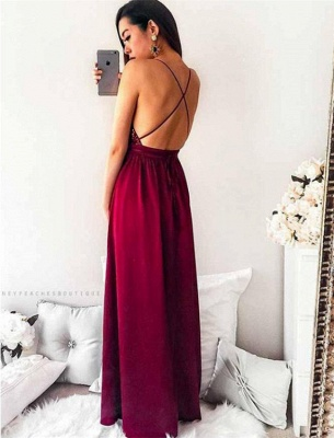 Delicate Sequined Spaghetti Strap Formal Dress | Front Split Long Party Gown_5