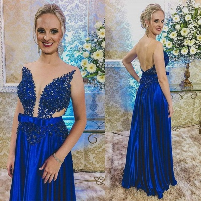 Newest Royal Blue Lace Appliques Prom Dress | Backless Prom Dress_3