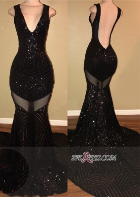 Mermaid Backless V-neck Sleeveless Sexy Black Sequined Prom Dress sp0292_3