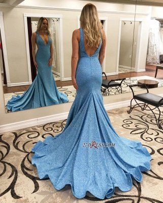 V-neck Mermaid Backless Sweep-Train Sexy Evening Dresses_2