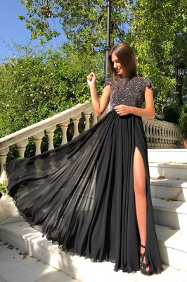 2020 Elegant Crew Cap Sleeves A-Line 2020 Evening Dress | Tulle Sequins Front Split Long Prom Gown_4