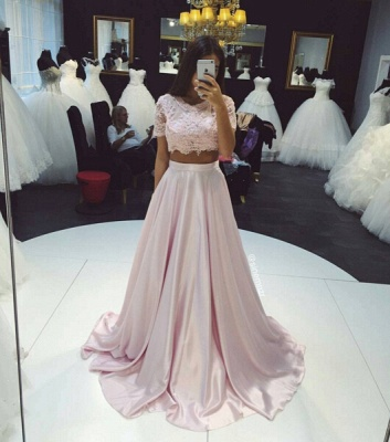 Beautiful Two Pieces Short Sleeve Prom Dresses 2020 Lace A-Line Party Gown_3