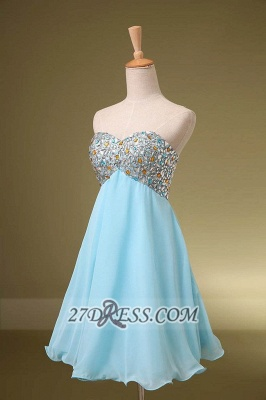 Sexy Sweetheart Sleeveless Short Homecoming Dress Colorful Beadings Lace-up Chiffon Cocktail Gown_2