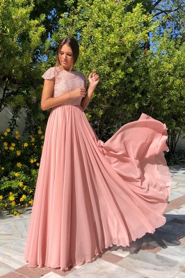 2020 Elegant Crew Cap Sleeves A-Line 2020 Evening Dress | Tulle Sequins Front Split Long Prom Gown_1
