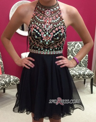 Short Newest Sleeveless Colorful-Crystals Halter Homecoming Dress_2