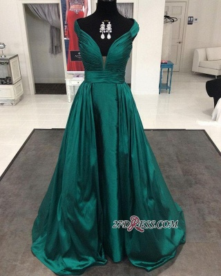 Modern Long Cap-Sleeve V-neck A-line Prom Dress_1