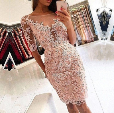 Elegant Half-Sleeve 2020 Homecoming Dress | Short Party Dress With Lace Appliques_3