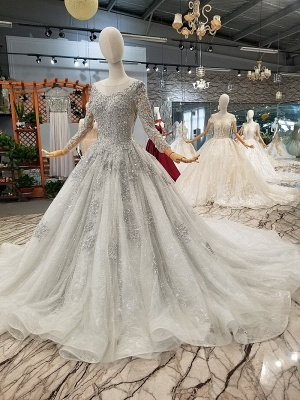 Stunning Long Sleeve Beadings Wedding Dresses | 2020 Lace-up Sequins Bridal Gowns_2