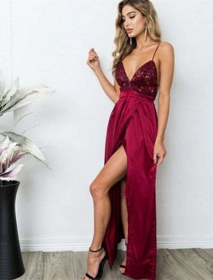 Delicate Sequined Spaghetti Strap Formal Dress | Front Split Long Party Gown_2