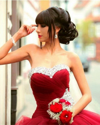 Glamorous Sweetheart Red Prom Dress 2020 Ball Gown Crystal Sweet Sixteen Dress_1