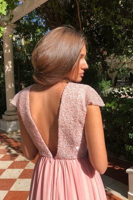 2020 Elegant Crew Cap Sleeves A-Line 2020 Evening Dress | Tulle Sequins Front Split Long Prom Gown_2