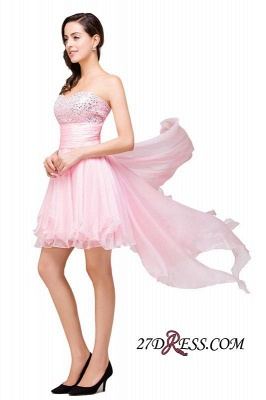 2020 Chiffon A-Line Ruffles Crystal Sweetheart Mini Homecoming Dress_3