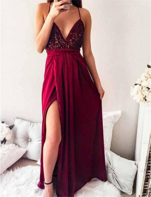 Delicate Sequined Spaghetti Strap Formal Dress | Front Split Long Party Gown_4