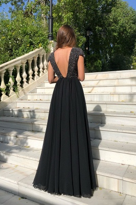 2020 Elegant Crew Cap Sleeves A-Line 2020 Evening Dress | Tulle Sequins Front Split Long Prom Gown_5