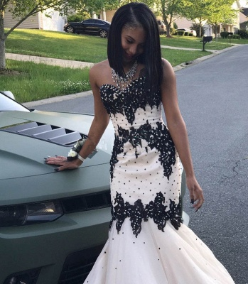 Black Lace 2020 Prom Dress | Mermaid Evening Gowns With Beadings_3