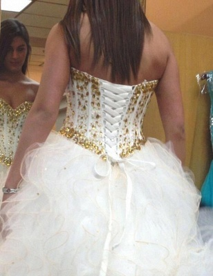 Fabulous Sweetheart Golden Crystal Wedding Dress Tulle 2020 Princess Bridal Gowns_3