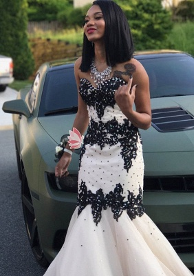 Black Lace 2020 Prom Dress | Mermaid Evening Gowns With Beadings_4