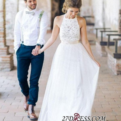 Simple Floor-length Sashes Lace White Halter A-line Wedding Dress BA3987_1
