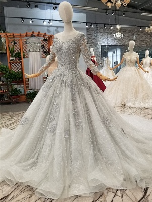 Stunning Long Sleeve Beadings Wedding Dresses | 2020 Lace-up Sequins Bridal Gowns_1