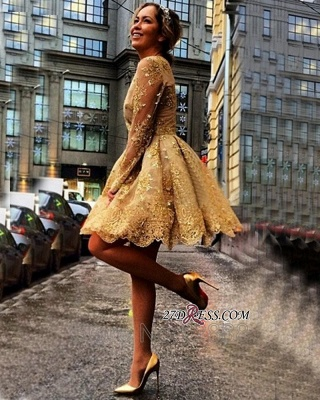 Sheer Gold Gorgeous Long-Sleeves Appliques Short Homecoming Dresses_4
