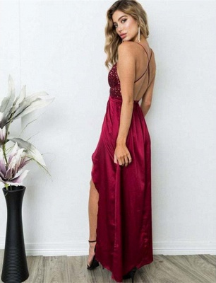 Delicate Sequined Spaghetti Strap Formal Dress | Front Split Long Party Gown_3