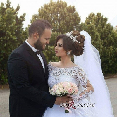 Tulle Lace Jeewl Long-Sleeves Ball-Gown Arabic White Wedding Dress_2