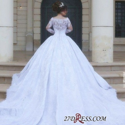 Tulle Lace Jeewl Long-Sleeves Ball-Gown Arabic White Wedding Dress_3